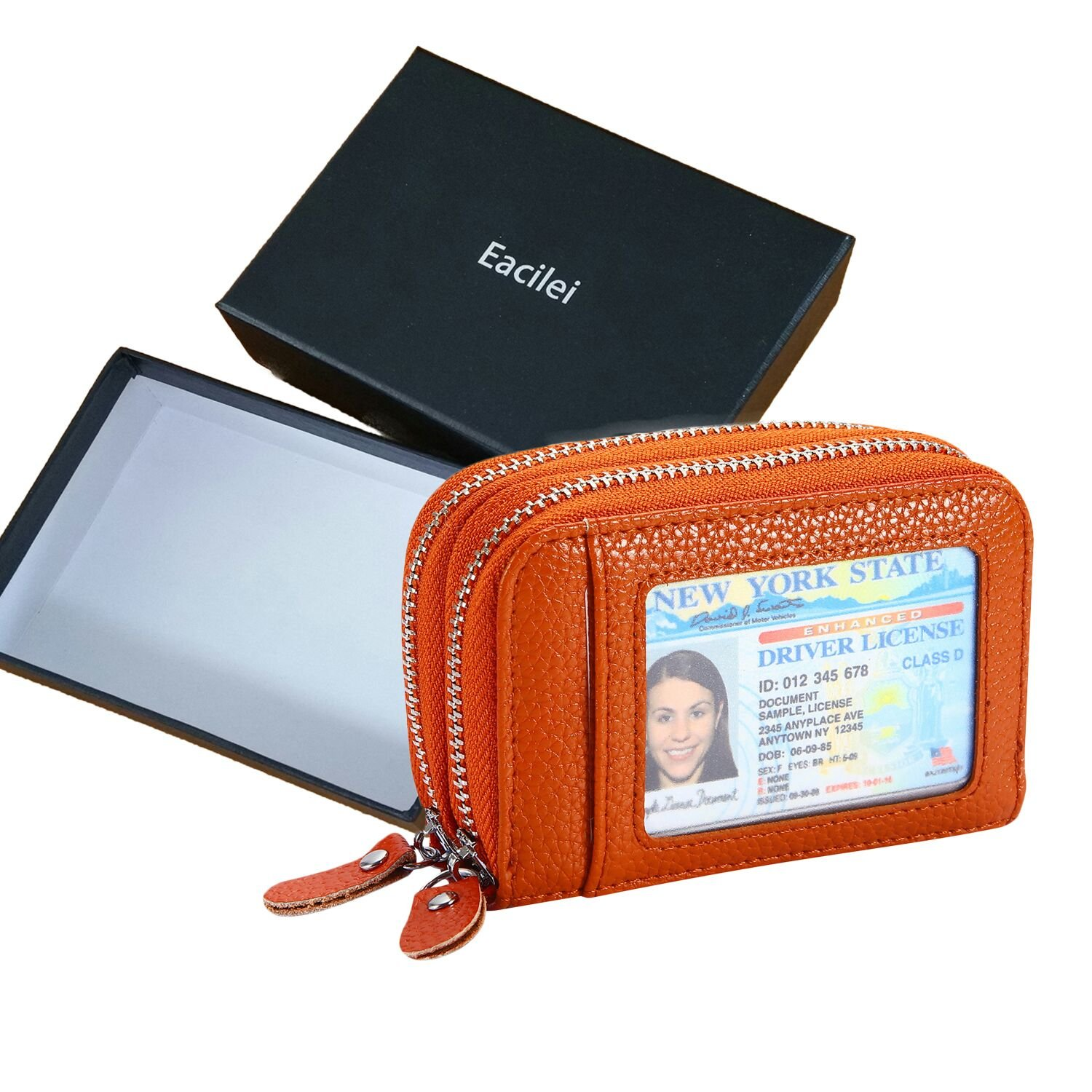 Eacilei RFID Blocking Leather Wallet Women/Women's Credit Card Holder/Protector with Coin Zipper Pocket - Small Purse (Brown)