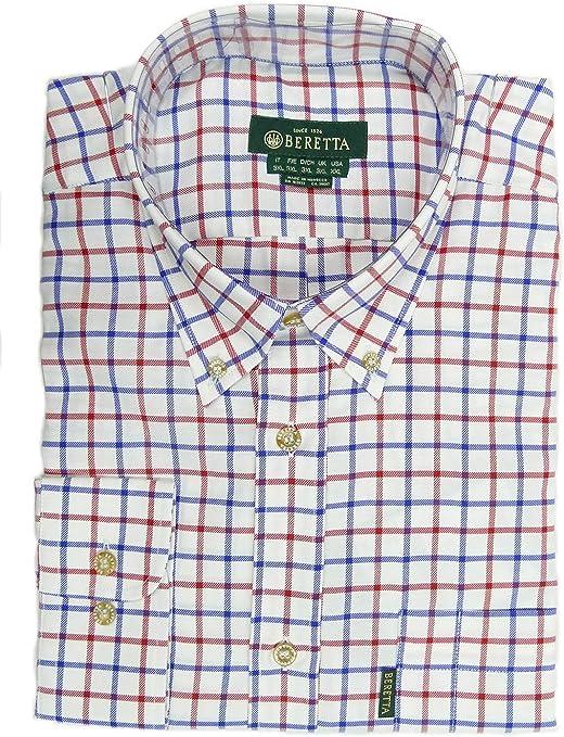 BERETTA Classic Camisa de cuadros para hombre blanco rojo y azul Country Wear LU321-041P: Amazon.es: Ropa y accesorios