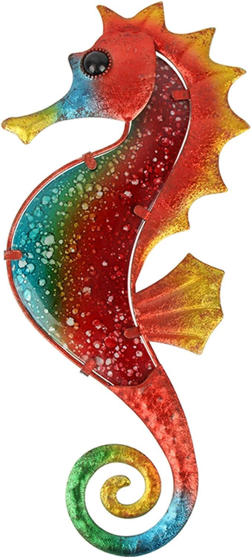 Liffy regalo de metal con cristal hecho a mano rojo caballito de mar decoración de pared para el hogar, patio, porche, baño