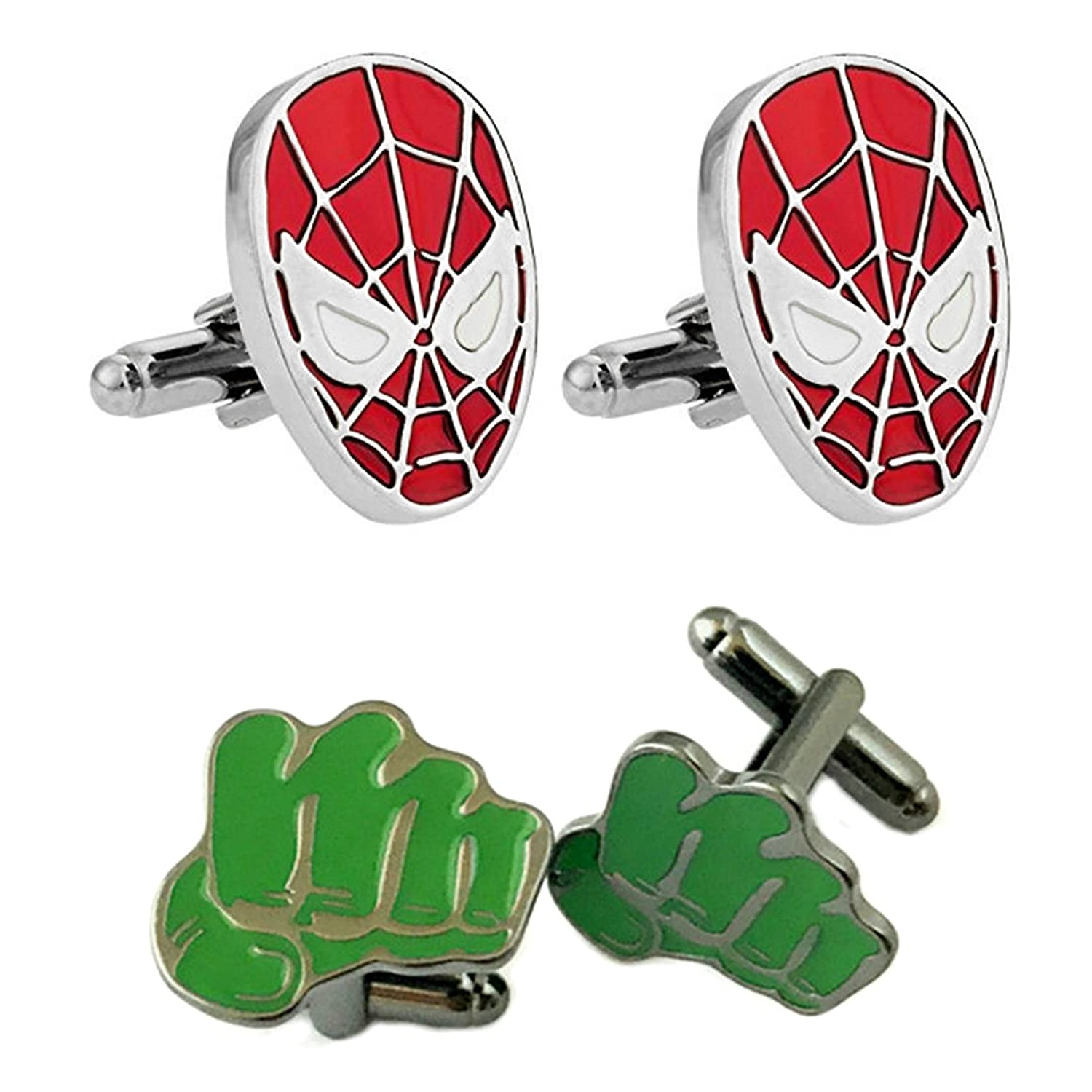 Outlander Gear Marvel Comics 2ペアスパイダーマン&ハルクスーパーヒーロー2018ムービーロゴ – Wedding Groom Groomsmen Mens Boys Cufflinks B07C8QJHVD