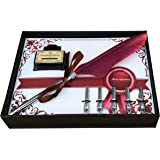Calligraphy Pen Set | Antique Burgundy Feather French Quill Kit with 5 Extra Nibs , Bottled Dip Ink & Elegant Storage Case | Learn Islamic Art Arabic Lettering | Best Holiday Gift by FinestImpressions
