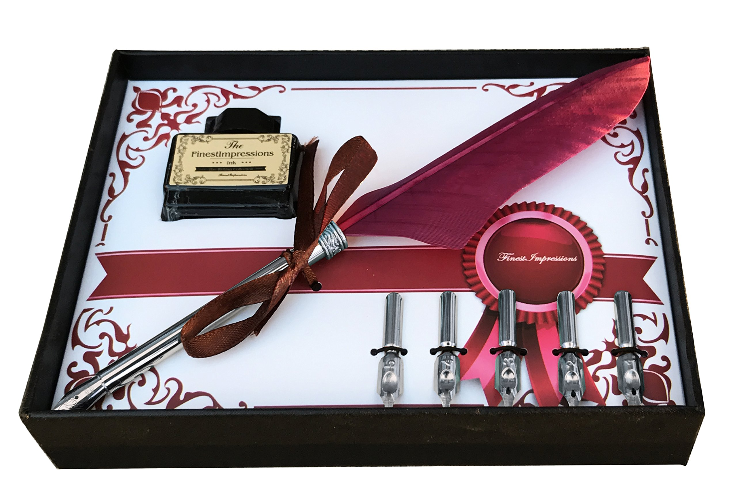 Calligraphy Pen Set | Antique Burgundy Feather French Quill Kit with 5 Extra Nibs , Bottled Dip Ink & Elegant Storage Case | Learn Islamic Art Arabic Lettering | Best Holiday Gift by FinestImpressions by Finest Impressions (Image #1)
