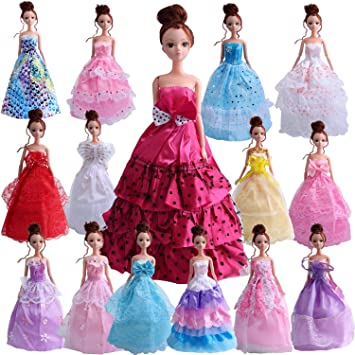 449757da5 Outee 15 Pcs Doll Clothes Set for Barbie Xmas Gift Party Grown Outfit for  Girls Kids