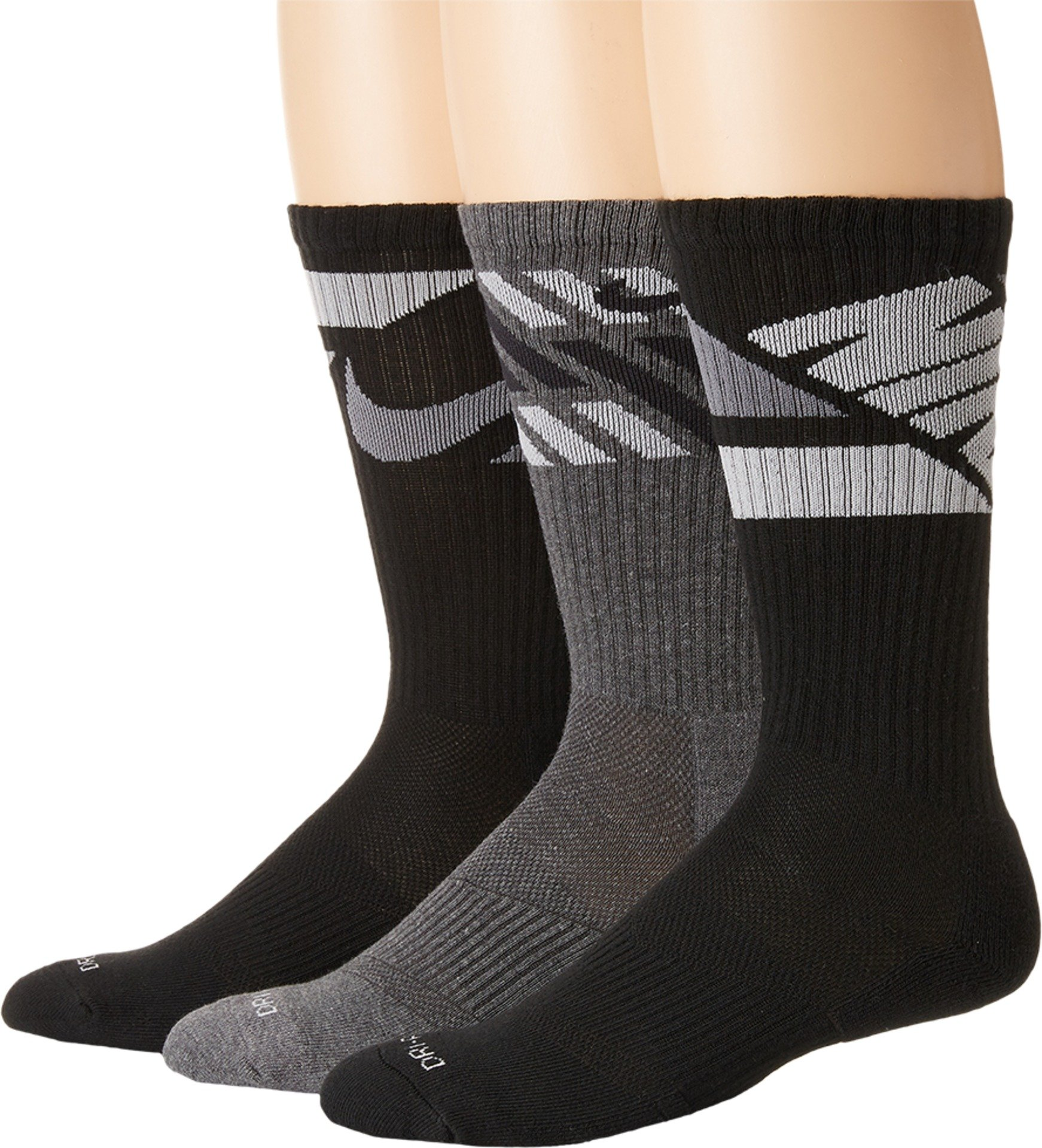 Nike Men's 3-pk Dri-fit Cushioned Crew Socks for shoe sizes 8-12 and 12-15 (Large, Multicolor 5) by Nike