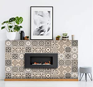 DIY Tile Fireplace Makeover Heat-Resistant Sticker Decals Simple and Mess-Free Peel & Stick Tile Stickers Art Design Home Decor (Scandinav Fireplace, 25)