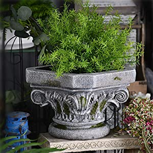 LIUSHI Roman Column Flowerpot Planter Indoor Outdoor Garden Ornament ,Display Pot Classic Inspired Pedestal Column