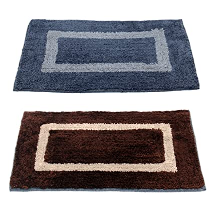 Story@Home Handicraft Style Eco Series 2 Piece Cotton Blend Door Mat - 16x24, Brown and Grey