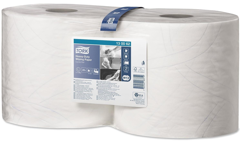 Tork 130062 Carta ultraresistente per asciugatura QuickDry Premium, sistema W1 (da terra o da parete) e W2 (ad estrazione centrale Maxi), 2 veli, 1 x 2 rotoli (2 x 170 m), colore bianco