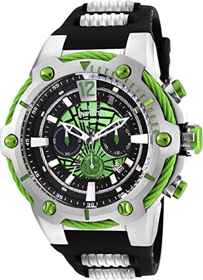 Invicta Men's Marvel Hulk 53mm Stainless Steel and Silicone Chronograph Quartz Watch, Black (Model: 25985)