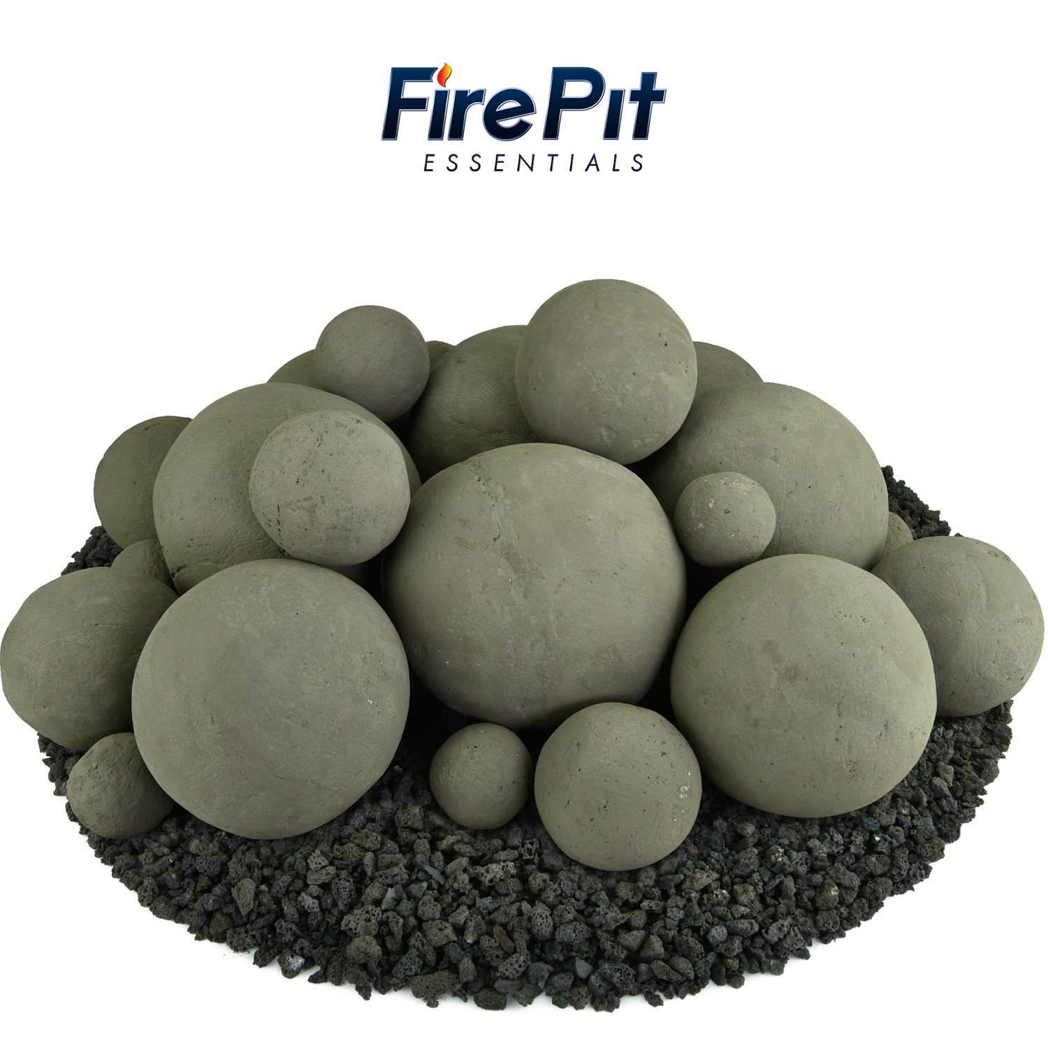 Ceramic Fire Balls | Mixed Set of 23 | Modern Accessory for Indoor and Outdoor Fire Pits or Fireplaces – Brushed Concrete Look | Charcoal Gray