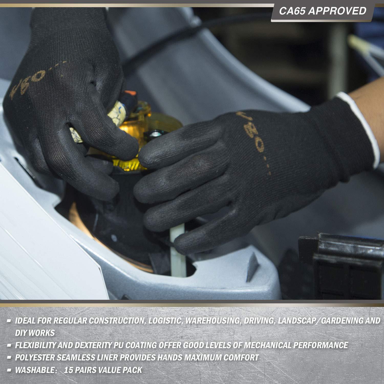 Vgo 15Pairs Polyurethane Coated Gardening and Work Gloves (Size  M,Black,PU2103)