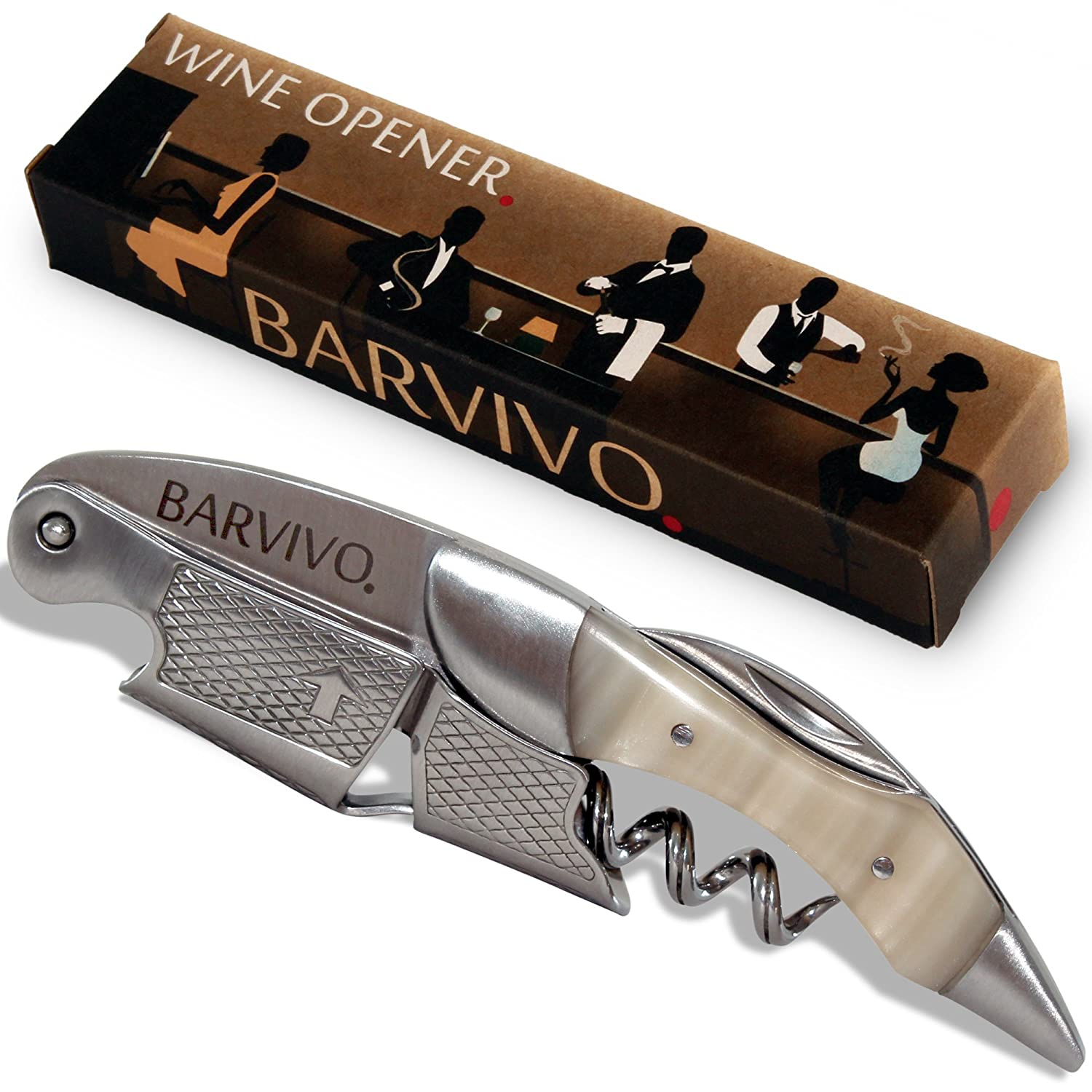 Barvivo Professional Waiters Corkscrew This Bottle Opener for Beer and Wine Bottles is Used by Waiters, Sommelier and Bartenders Around The World. Made of Stainless Steel and Bai Ying Wood.