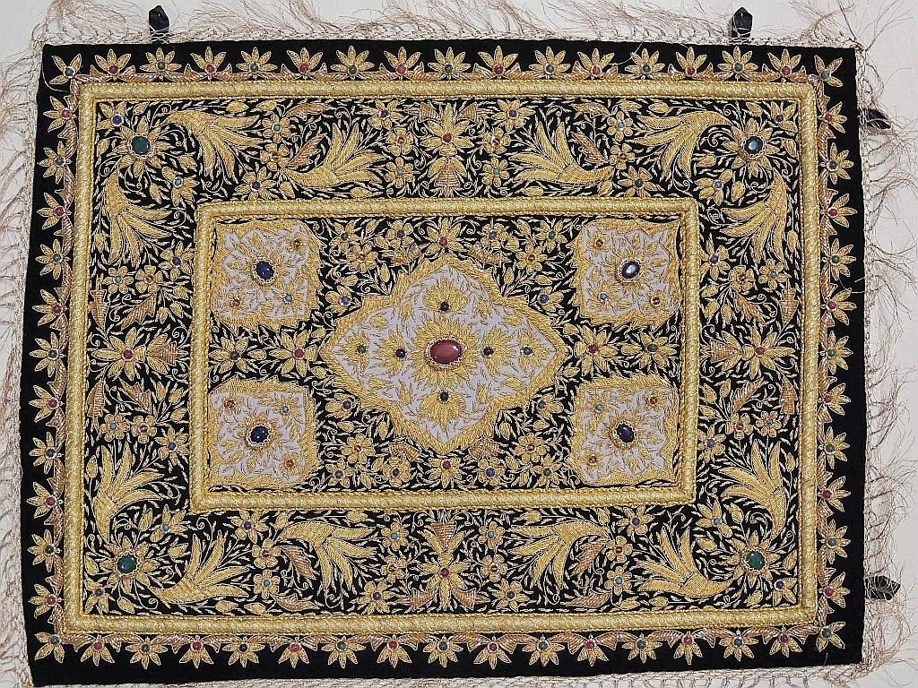 Gold Wall Hanging Jewel Carpet – Kashmir Zardozi Embroidery Home Decoration ~ 24 Inch x 18 Inch
