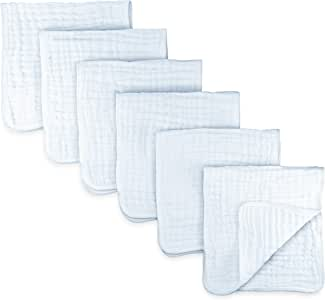 Muslin Burp Cloths 6 Pack Large 100% Cotton Hand Wash Cloth 6 Layers Extra Absorbent and Soft