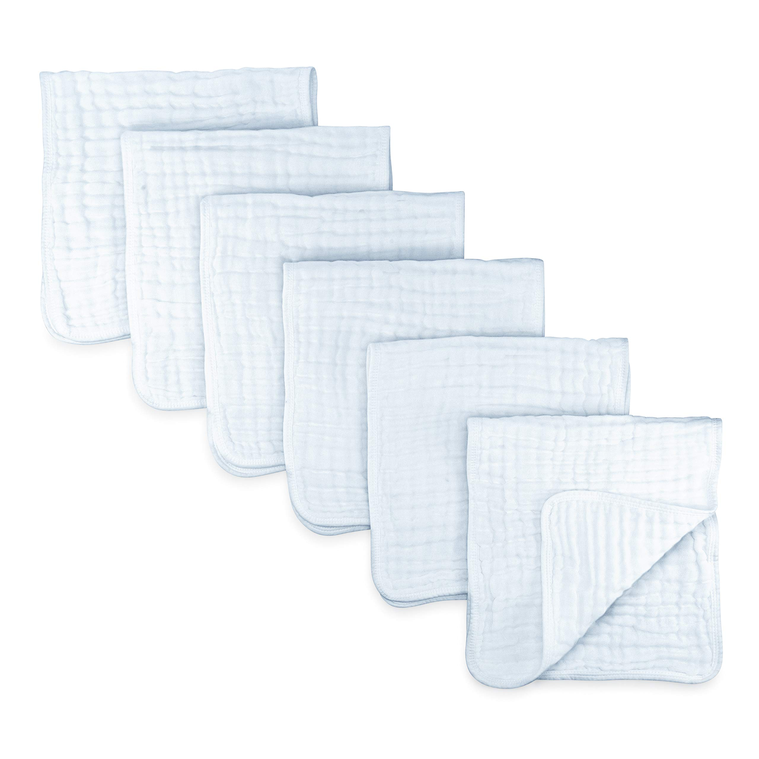 Comfy Cubs Muslin Burp Cloths 6 Pack Large 100% Cotton Hand Washcloths 6 Layer Extra Absorbent and Soft (White)