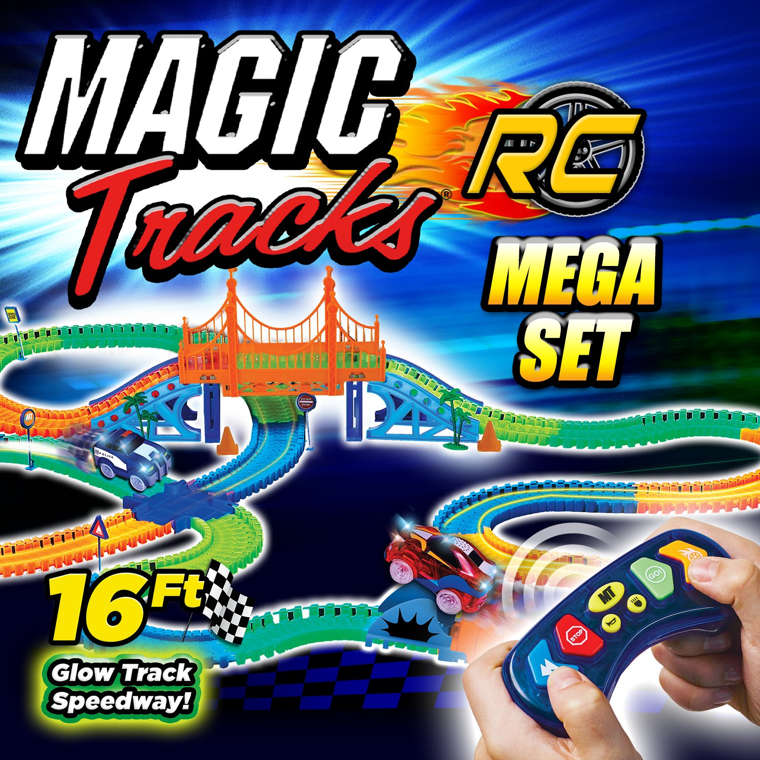 Amazon.com: Ontel Magic Tracks Mega RC with 2 Remote Control Turbo Race Cars and 16 ft of Flexible, Bendable Glow in the Dark Racetrack, As Seen on TV: Home ...