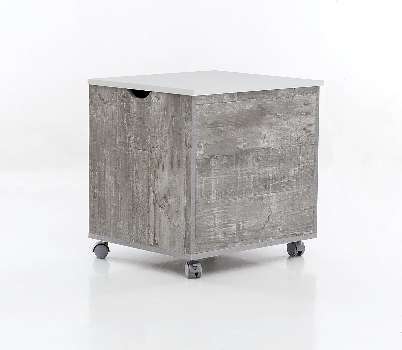 WILMES Truhe auf Rollen mit Klappe, Spanplatte, Melamin Beton weiß Dekor, 50 x 42 x 50.5 cm