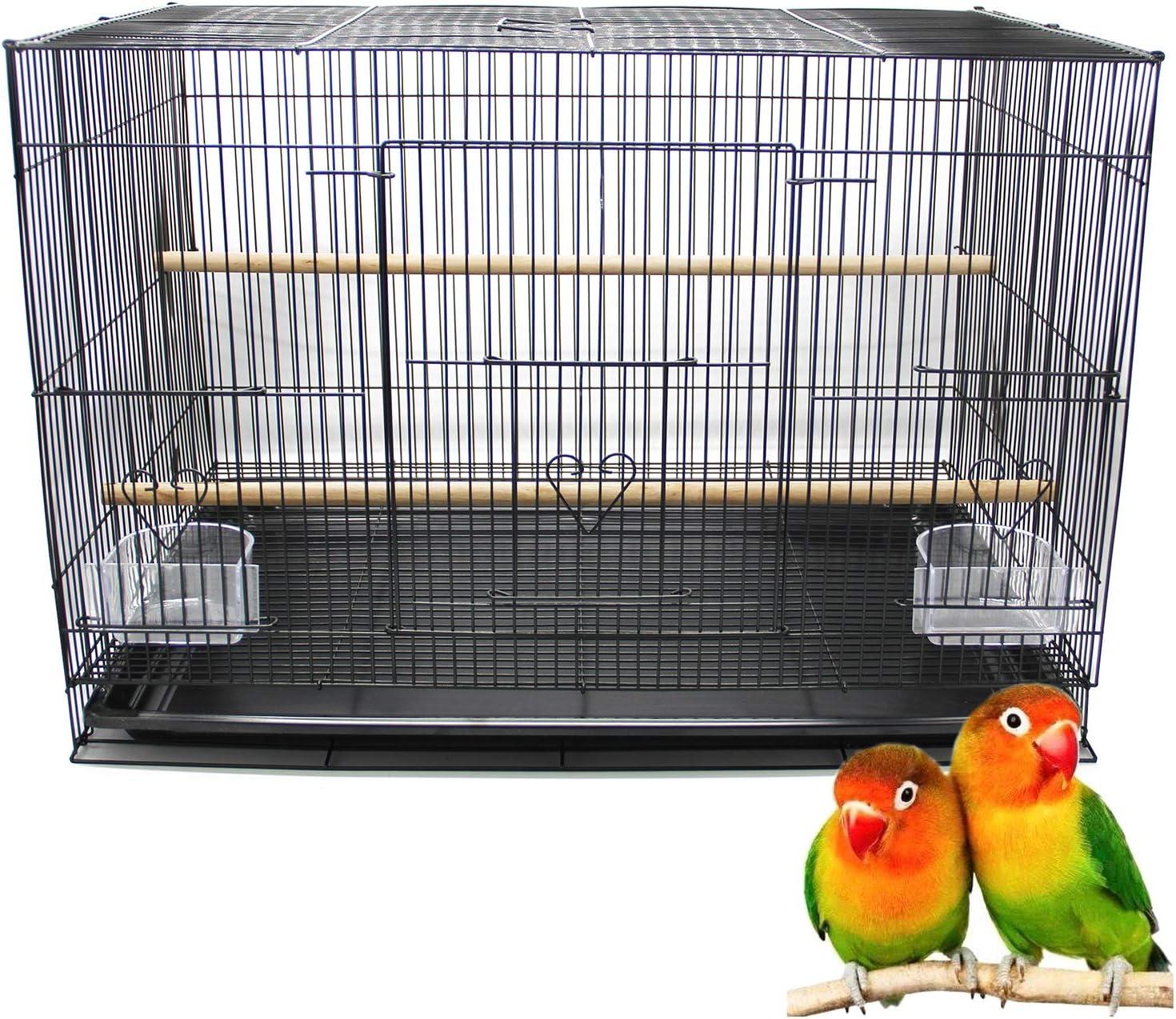 BPS Jaula Loro Metal para Pájaros Pajarera Periquito Canarios Jaula Grande con Comedero Bebedero Saltador 60x42x41cm BPS-1260