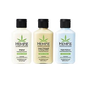 Hempz Original, Sweet Pineapple & Honey Melon, and Triple Moisture Mini Moisturizers, Pure, Natural & Herbal Hemp Seed Lotion for Dryness, 2.25oz, 3 Pack Mini Bundle