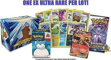Lote de cartas Pokemon EX con Booster Pack – 5 tarjetas raras – 5 tarjetas Holo/Reverse Holo – 20 tarjetas comunes/poco comunes. Caja de cartas Pokemon. Caja de almacenamiento Golden Groundhog.: Amazon.es: