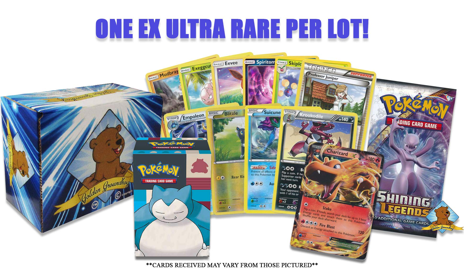 Pokemon EX Card Lot with Booster Pack - 5 Rare Cards - 5 Holo/Reverse Holo Cards - 20 Common/Uncommon Cards! Pokemon Deck Box! Golden Groundhog Storage Box!