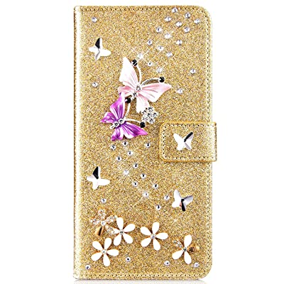 IKASEFU Compatible with Samsung Galaxy S8 Plus Case Glitter Shiny butterfly Rhinestone Floral Pu Leather Diamond Flash Bling Wallet Strap Case with Card Holder Magnetic stand Flip Cover Case,Gold: Musical Instruments