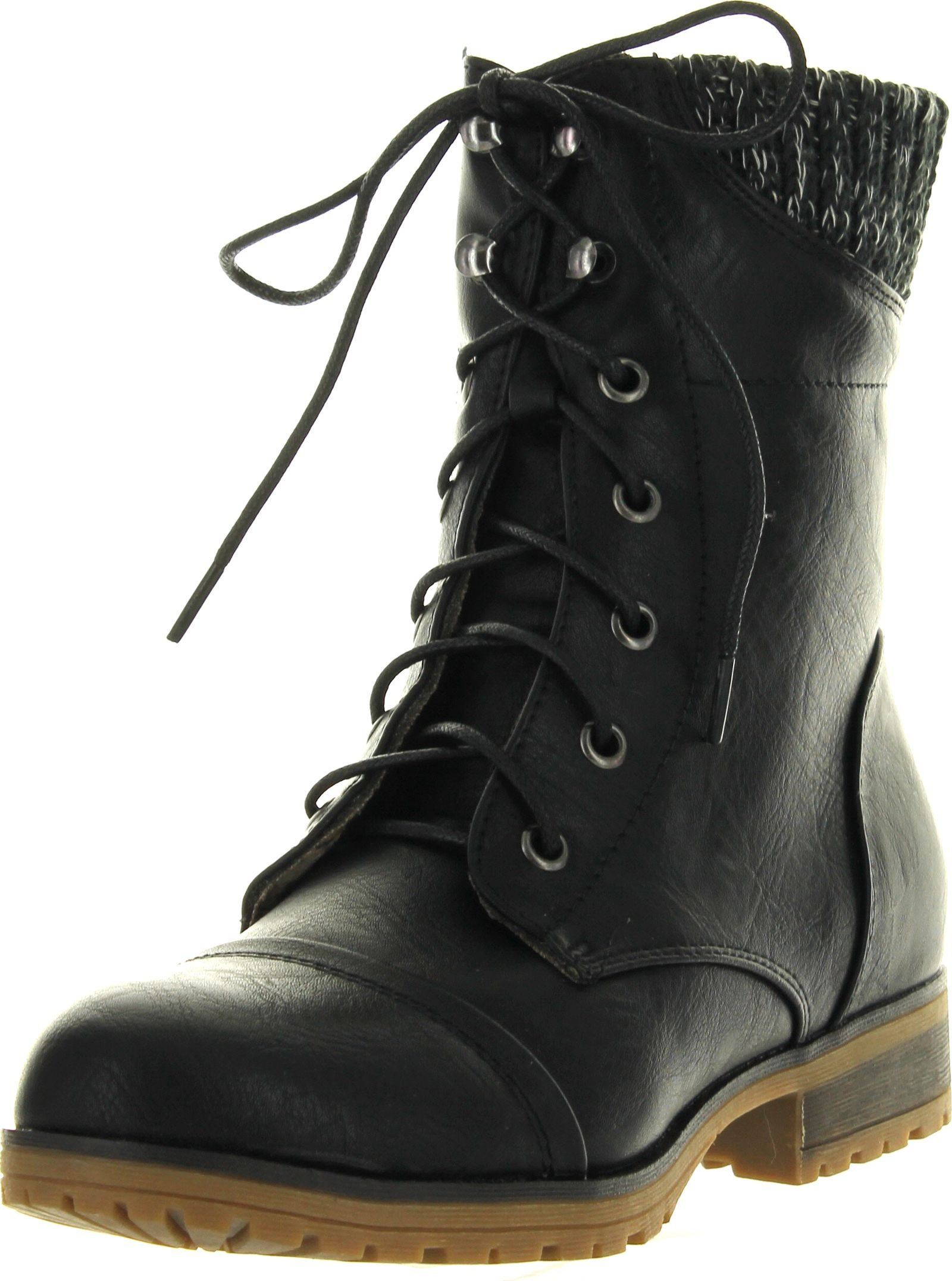 Refresh Womens Wynne-06 Combat Flat Style Lace Up Back Zipper Mid-Calf Bootie,Black,10
