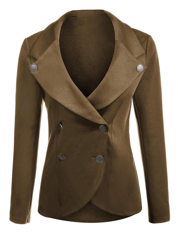 ELESOL Women's Slim Fit Blazer Casual Work Double Breasted Peplum Crop Jacket ELH006954