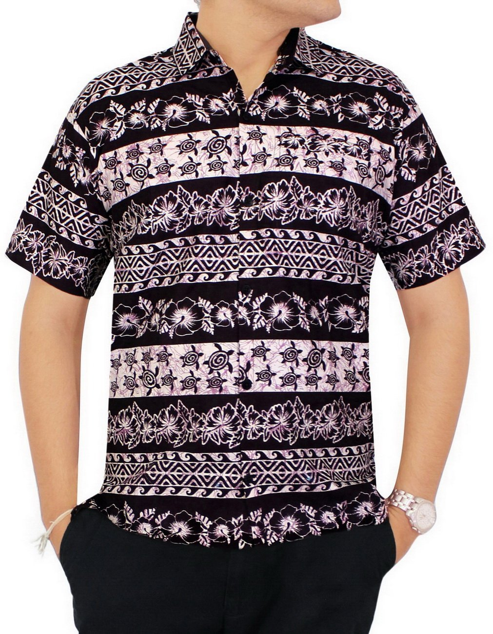 La Leela Men's Casual Button Down Short Sleeve Pocket Hawaiian Shirt Black:  *LA LEELA: Amazon.co.uk: Clothing