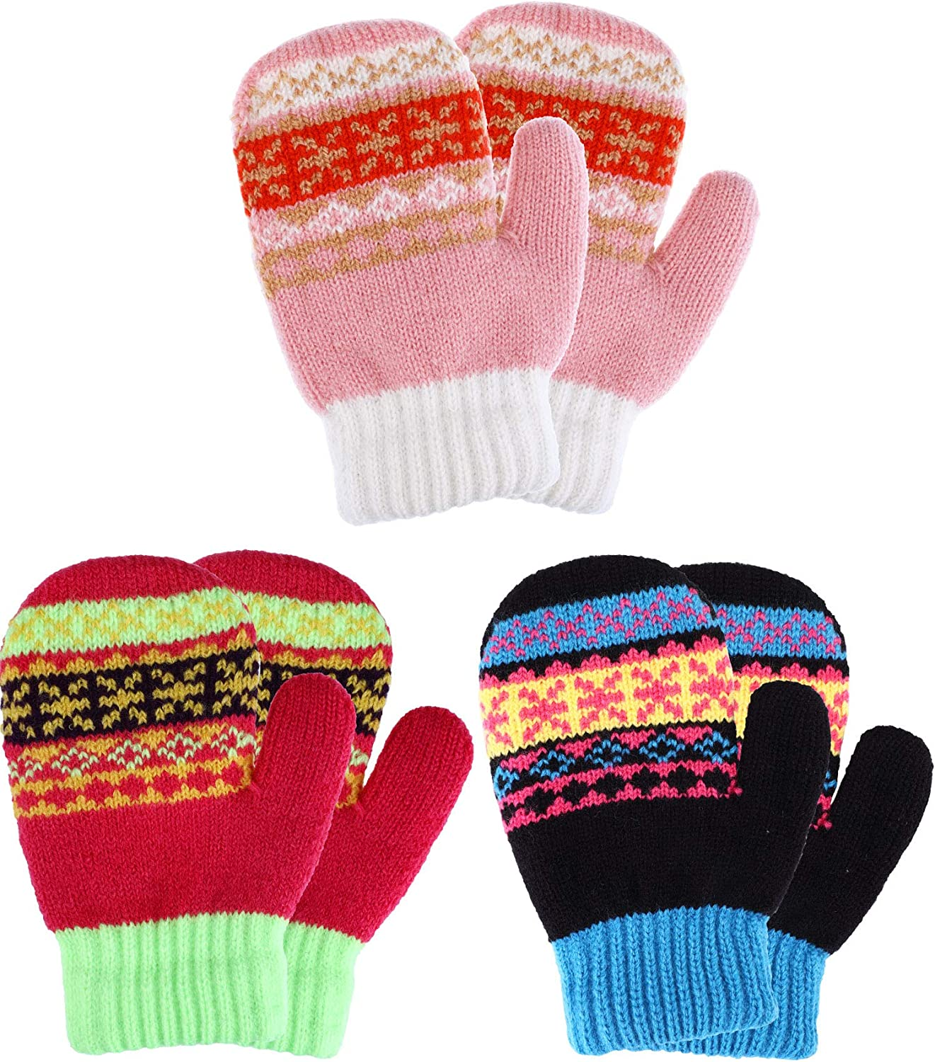 Tatuo 3 Pairs Full Finger Kids Gloves Winter Warm Knitted Mittens Plush Thicken Christmas Gloves for Infant Boys Girls Color Set 4