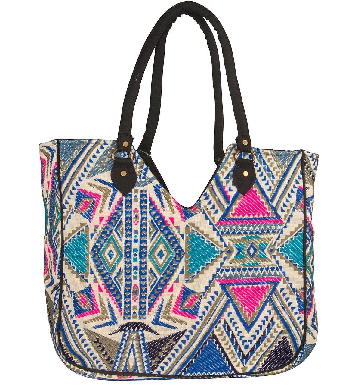 Woven Women Tote Blue Large Shoulder Bag Beach Summer Fashion Spring School Every day Floral Geometric