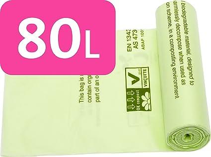 Bolsas de basura compostables para alimentos y residuos biodegradables, de 80 litros, con la