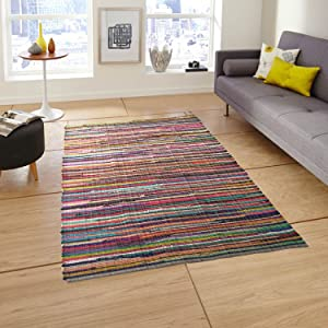 Eco friendly 100% recycled cotton colorful Chindi Area Rug – 5'x7'