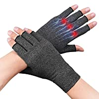Compression Arthritis Gloves for Women Men for Carpal Tunnel Pain Tendonitis Rheumatoid Fingerless Wrist Brace Night Wrist Support Wrist Wraps Left Right for Typing Sleep 1 Pair Grey Large
