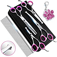 Dog Grooming Kit, Dog Grooming Scissors Kit with Safety Round Tip, Pet Grooming Kit, Dog Hair Scissors - Thinning, Straight, Curved dog Shears and Comb For Trimming Face, Ear, Nose & Paws