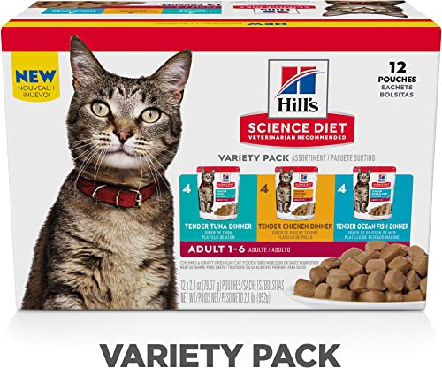 Hill s Science Diet Wet Cat Food Pouches, Adult, 2.8 oz Pouch