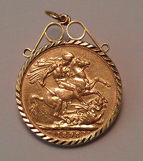 22ct full gold sovereign 1898 queen victoria ll set in 9ct scroll 22ct full gold sovereign 1898 queen victoria ll set in 9ct scroll top pendant aloadofball Images