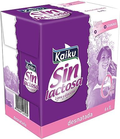 Kaiku Leche sin Lactosa UHT Desnatada - Paquete de 6 x 1000 ...