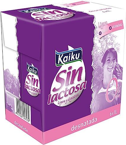 Kaiku Leche Sin Lactosa Uht Desnatada Paquete De 6 X 1000 Gr