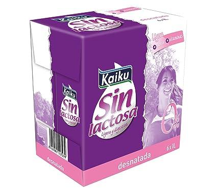 Kaiku Leche sin Lactosa UHT Desnatada - Paquete de 6 x 1000 gr - Total: