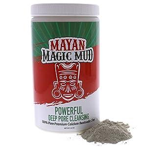 Mayan Magic Mud | 100% Pure Premium Calcium Bentonite Healing Clay | Powerful Deep Pore Cleansing Facial & Body Mask | Treats Acne Breakouts, Blackheads & Oily Skin | 32 Oz