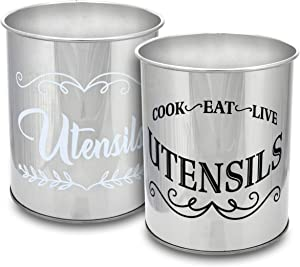 Rustic Kitchen Utensil Holders for Countertop Tool Storage, Set of 2, Decorative Farmhouse Home Decor, Stainless Steel Canisters, Versatile Cutlery Caddy (Stainless Steel)