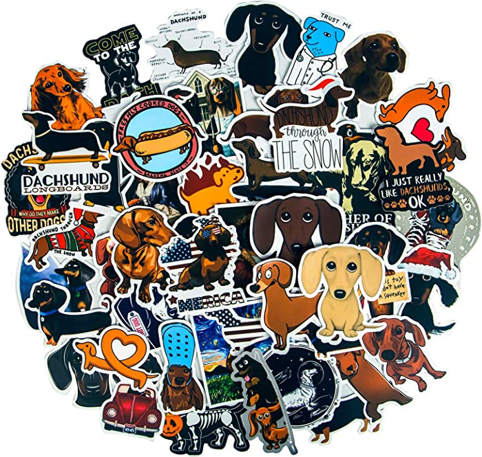 50 PCS Cute Dachshund Stickers, Funny Dog Stickers for Kids, Waterproof Vinyl Stickers for Water Bottles, Laptop Stickers Skateboard Stickers, Animal Stickers Graffiti Patches Decals