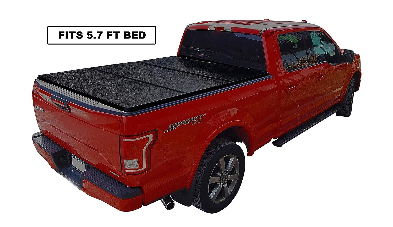 Black Series Auto Hard Solid Tri-Fold Tonneau Cover 1997-2019 Ford F-150 6.5-Feet Box Non-Flareside