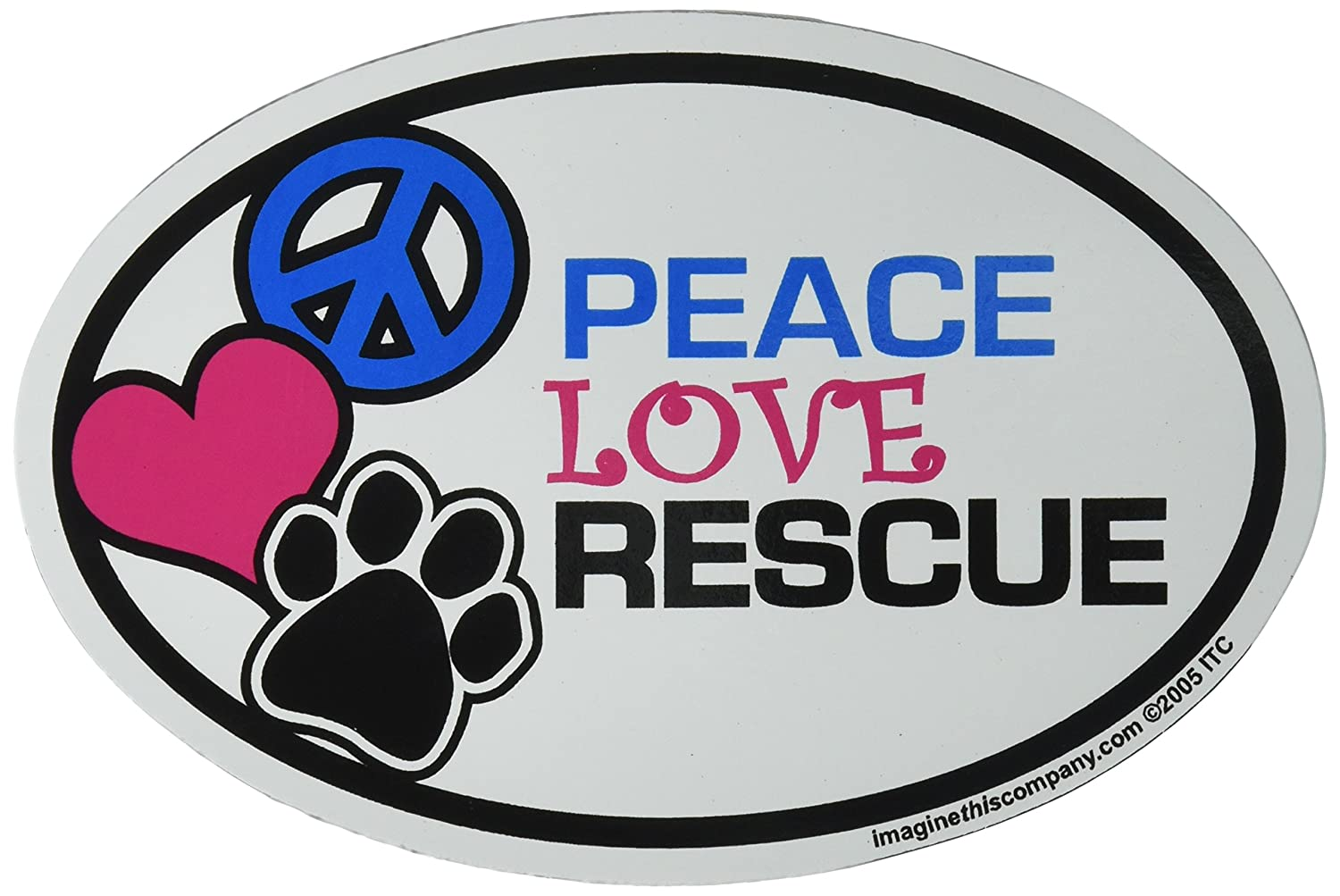 Imagine This Oval Peace Love Rescue Car Magnet, 6-Inch by 4-Inch