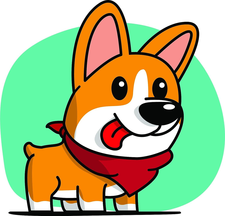 Amazon Com Cute Happy Derpy Silly Tongue Out Corgi Puppy Dog Cartoon Vinyl Sticker 8 Tall Emoji Automotive