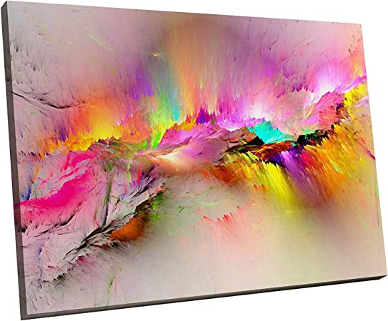 LARGE PINK FLOWER FLORAL CANVAS ON WATER COLOUR SPLASH WALL ART PICTURE 100cm