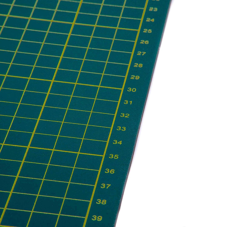 Patchworken Schneidunterlage vhbw Schneidematte gr/ün mit Rasterung zum N/ähen A2 Basteln