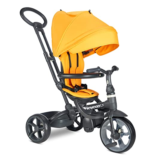 Safety Harness Adjustable Canopy 6-in-1 Foldable Steer Stroller Learning Bike w//Detachable Guardrail Folding Pedal GLACER Baby Tricycle Brake Storage Bag for Toddler Boys and Girls