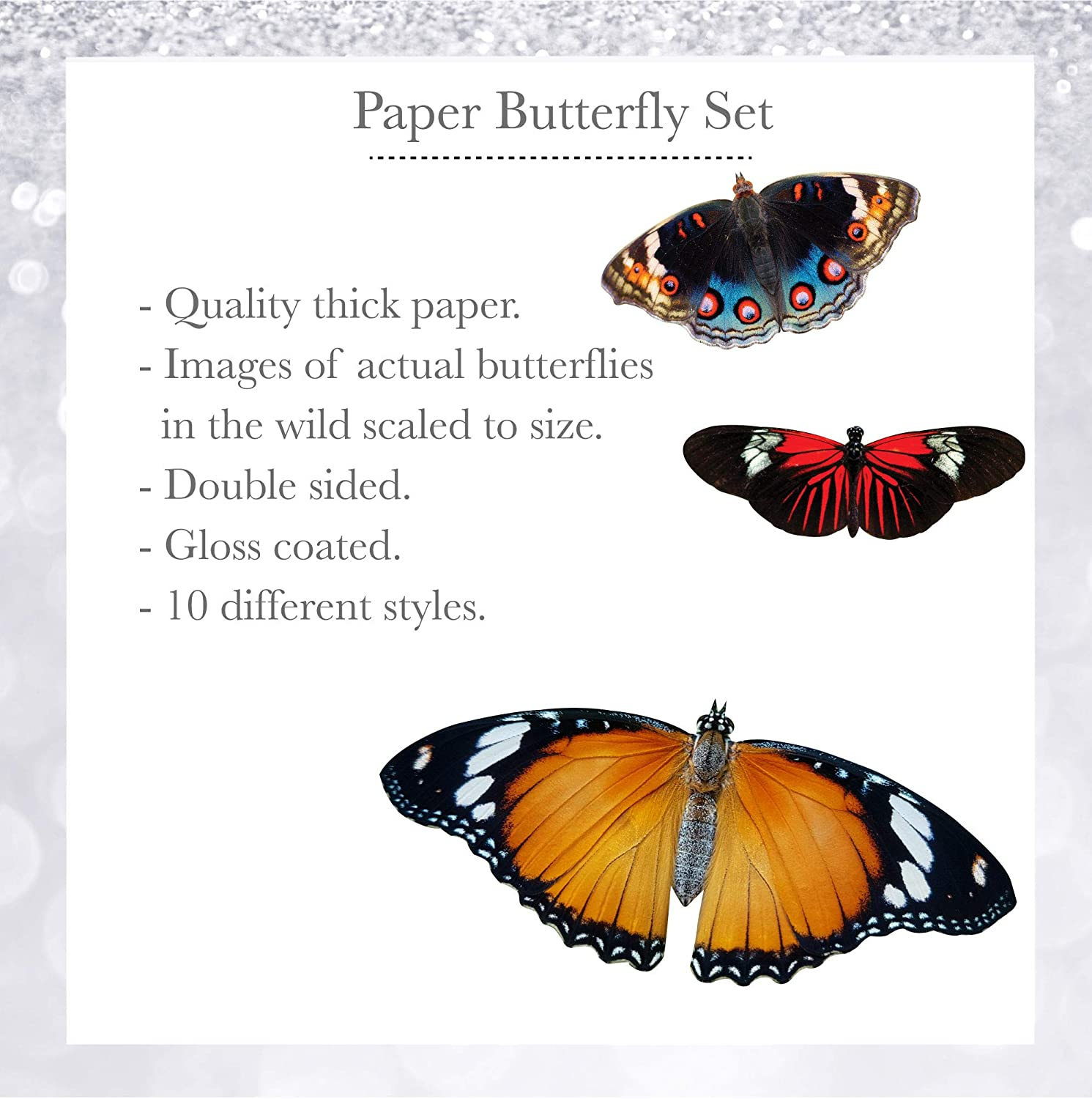 Butterflies Etched Crafting Sets Many Colours /& Size Options Packs of 10